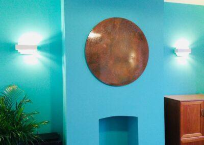 Circular aged copper wall art