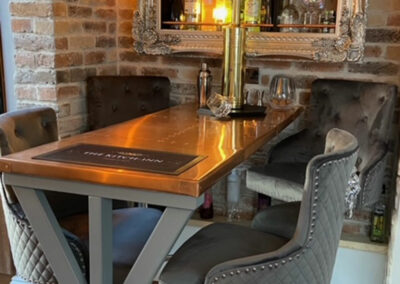 Copper table top for restaurant