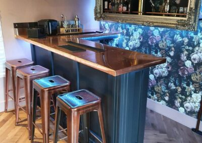 custom made copper bar top with copper stools