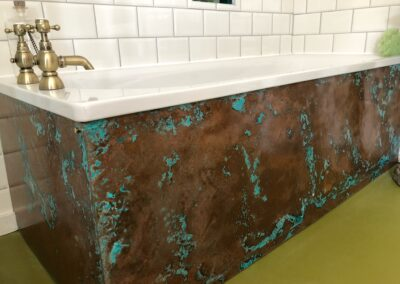 Aged copper bath panels