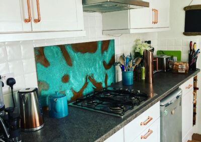 verdigris copper kitchen splashback