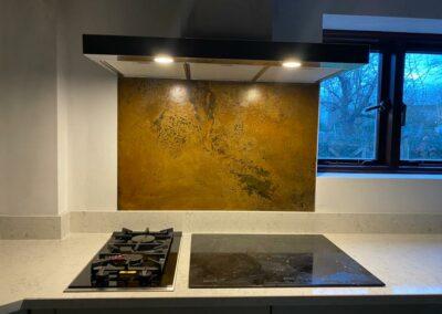 aged copper splashback oxfordshire finish