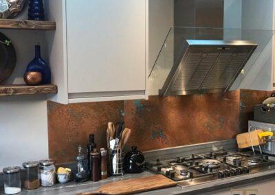 aged kitchen splashback in modern kitchen